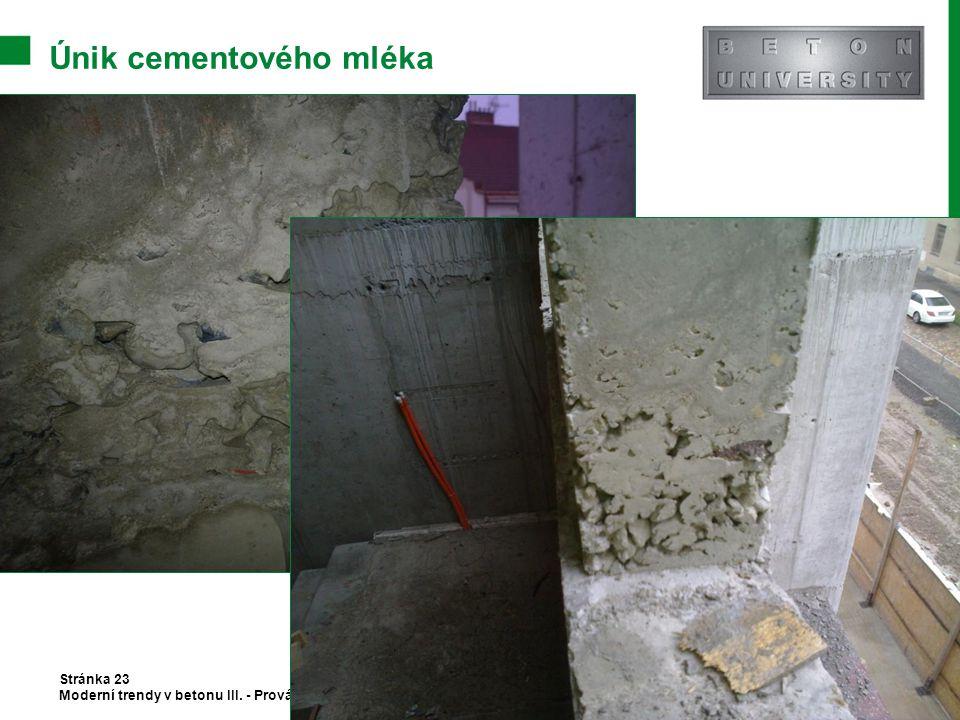 Únik cementového mléka Stránka 23 Moderní trendy v betonu III. - Provádění betonových konstrukcí