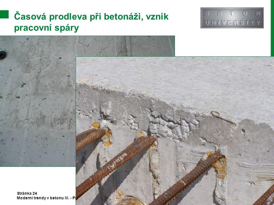 Časová prodleva při betonáži, vznik pracovní spáry Stránka 24 Moderní trendy v betonu III. - Provádění betonových konstrukcí