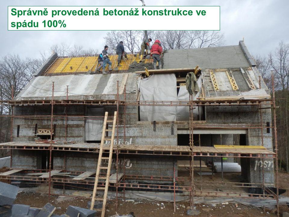 Stránka 27 Moderní trendy v betonu III. - Provádění betonových konstrukcí Správně provedená betonáž konstrukce ve spádu 100%
