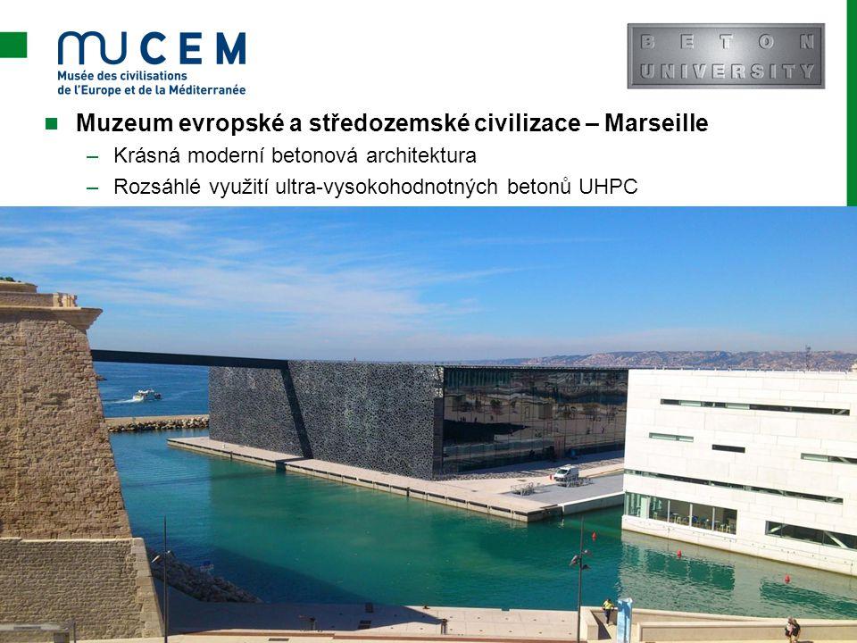 Muzeum evropské a středozemské civilizace – Marseille –Krásná moderní betonová architektura –Rozsáhlé využití ultra-vysokohodnotných betonů UHPC Strán