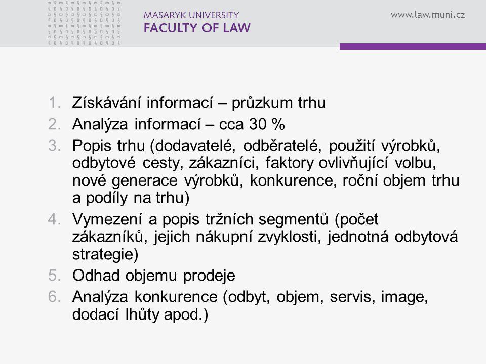 www.law.muni.cz 1.Získávání informací – průzkum trhu 2.Analýza informací – cca 30 % 3.Popis trhu (dodavatelé, odběratelé, použití výrobků, odbytové ce