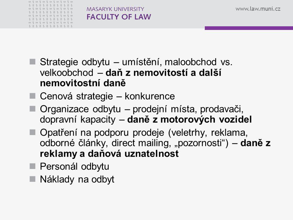 www.law.muni.cz Strategie odbytu – umístění, maloobchod vs. velkoobchod – daň z nemovitostí a další nemovitostní daně Cenová strategie – konkurence Or