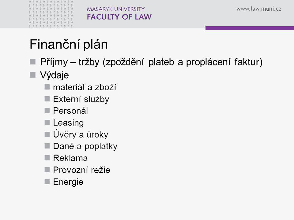 www.law.muni.cz Finanční plán Příjmy – tržby (zpoždění plateb a proplácení faktur) Výdaje materiál a zboží Externí služby Personál Leasing Úvěry a úro