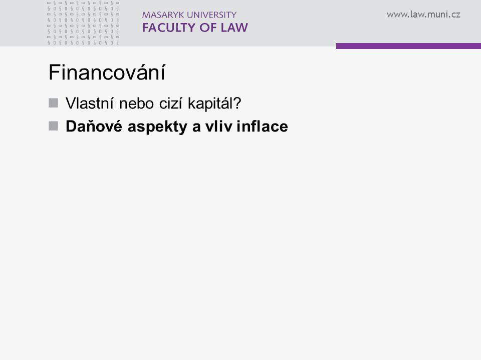 www.law.muni.cz Financování Vlastní nebo cizí kapitál? Daňové aspekty a vliv inflace