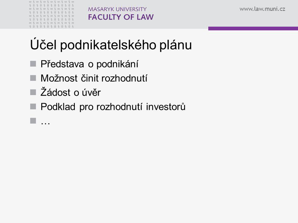 www.law.muni.cz Obsah podnikatelského plánu Shrnutí Popis subjektu Klíčové osobnosti a organizace Výrobky / služby Analýza trhu a prognóza obratu Odbyt / marketing Výroba Finanční plán a financování Přílohy