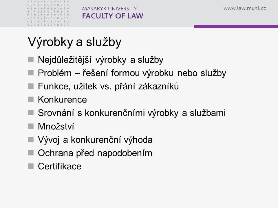 www.law.muni.cz Výrobky a služby Nejdůležitější výrobky a služby Problém – řešení formou výrobku nebo služby Funkce, užitek vs. přání zákazníků Konkur