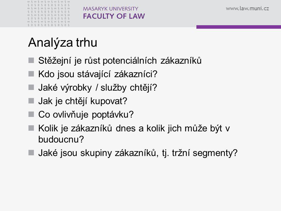 www.law.muni.cz Analýza trhu Stěžejní je růst potenciálních zákazníků Kdo jsou stávající zákazníci? Jaké výrobky / služby chtějí? Jak je chtějí kupova