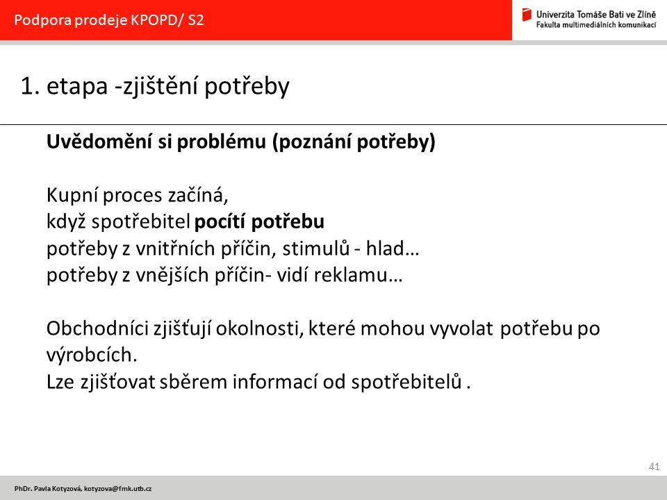 41 PhDr. Pavla Kotyzová, kotyzova@fmk.utb.cz 1. etapa -zjištění potřeby Podpora prodeje KPOPD/ S2 Uvědomění si problému (poznání potřeby) Kupní proces