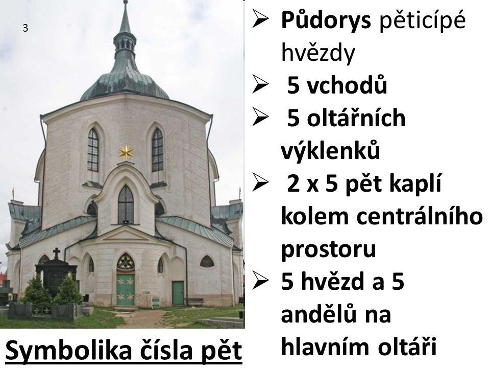  Půdorys pěticípé hvězdy  5 vchodů  5 oltářních výklenků  2 x 5 pět kaplí kolem centrálního prostoru  5 hvězd a 5 andělů na hlavním oltáři 3 Symb