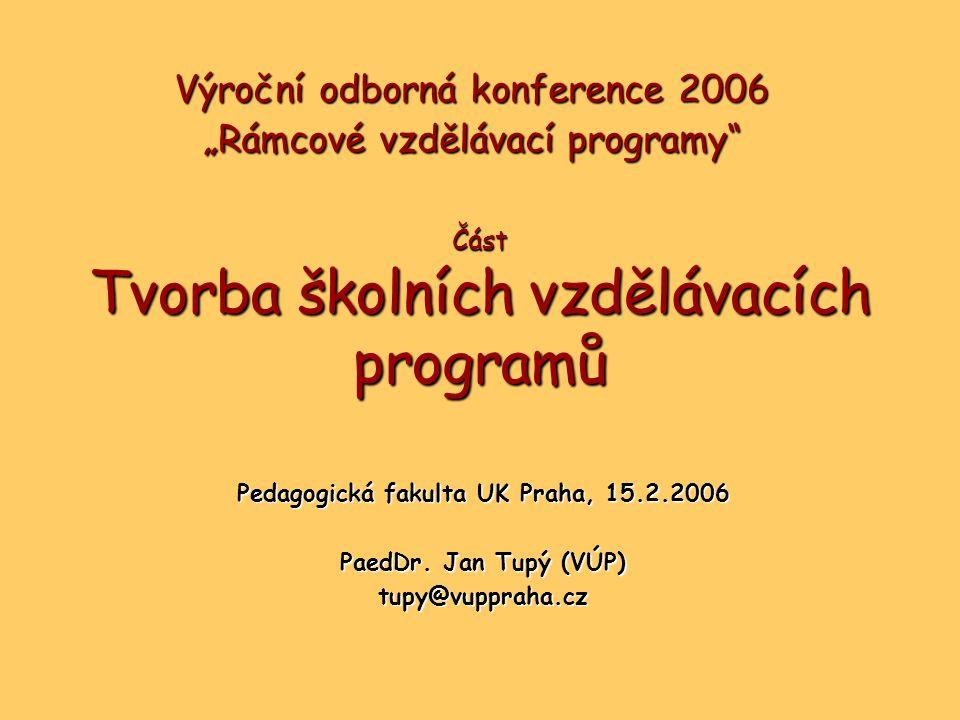 Část Tvorba školních vzdělávacích programů Pedagogická fakulta UK Praha, 15.2.2006 PaedDr.