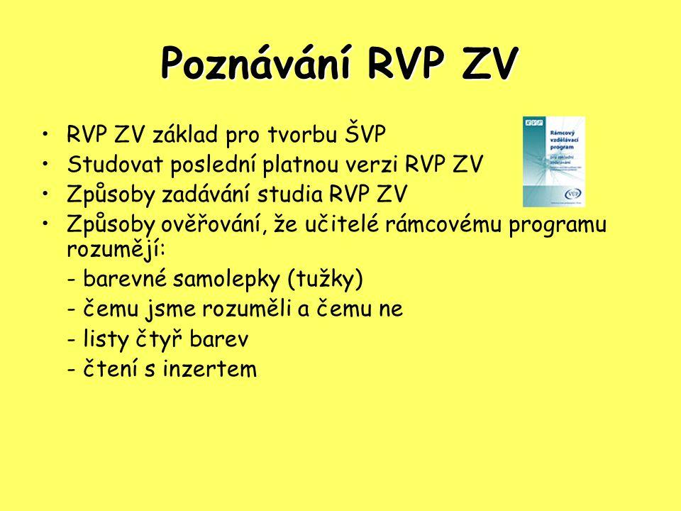 Poznávání RVP ZV RVP ZV základ pro tvorbu ŠVP Studovat poslední platnou verzi RVP ZV Způsoby zadávání studia RVP ZV Způsoby ověřování, že učitelé rámcovému programu rozumějí: - barevné samolepky (tužky) - čemu jsme rozuměli a čemu ne - listy čtyř barev - čtení s inzertem