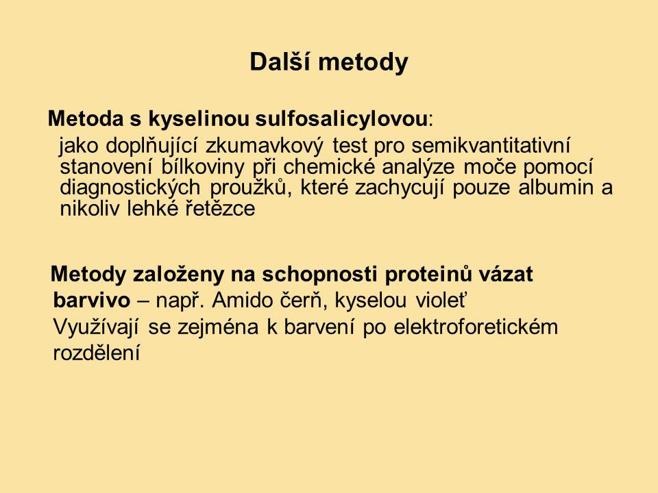 Další metody Metoda s kyselinou sulfosalicylovou: jako doplňující zkumavkový test pro semikvantitativní stanovení bílkoviny při chemické analýze moče