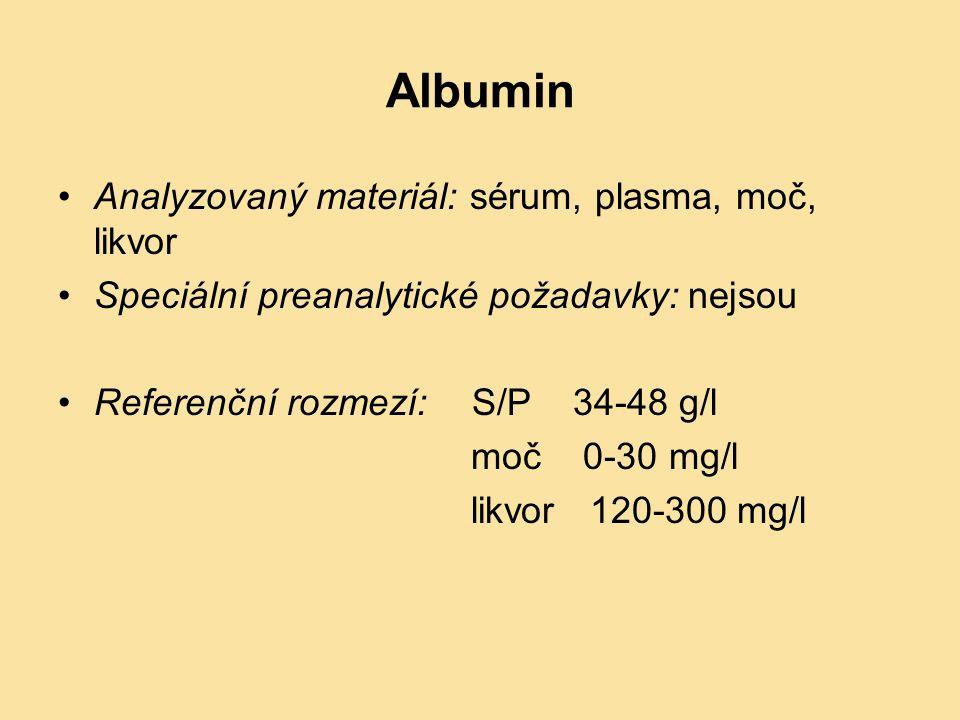 Albumin Analyzovaný materiál: sérum, plasma, moč, likvor Speciální preanalytické požadavky: nejsou Referenční rozmezí: S/P 34-48 g/l moč 0-30 mg/l lik