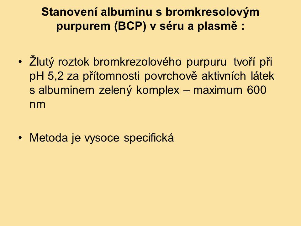 Stanovení albuminu s bromkresolovým purpurem (BCP) v séru a plasmě : Žlutý roztok bromkrezolového purpuru tvoří při pH 5,2 za přítomnosti povrchově ak