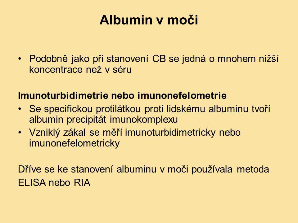 Albumin v moči Podobně jako při stanovení CB se jedná o mnohem nižší koncentrace než v séru Imunoturbidimetrie nebo imunonefelometrie Se specifickou p
