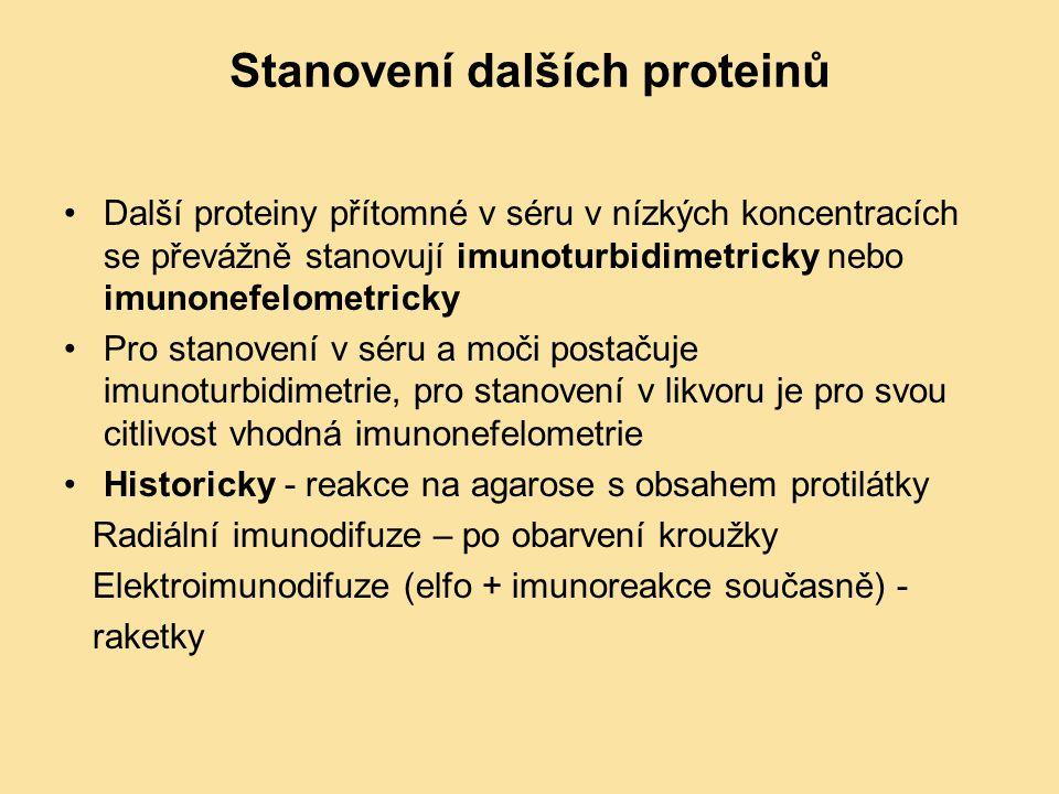 Stanovení dalších proteinů Další proteiny přítomné v séru v nízkých koncentracích se převážně stanovují imunoturbidimetricky nebo imunonefelometricky