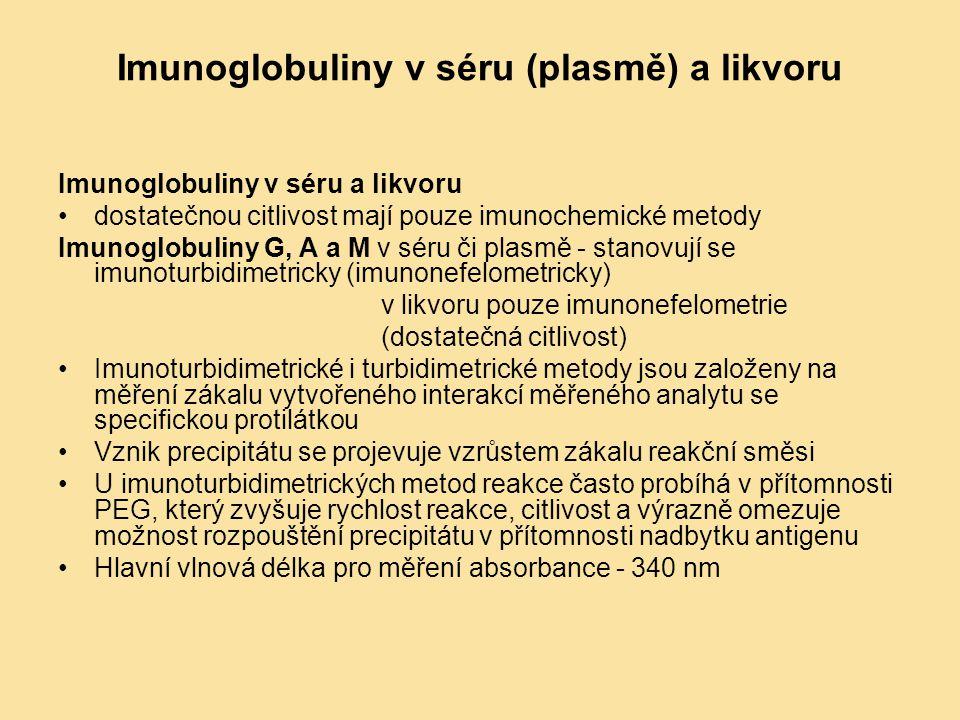 Imunoglobuliny v séru (plasmě) a likvoru Imunoglobuliny v séru a likvoru dostatečnou citlivost mají pouze imunochemické metody Imunoglobuliny G, A a M