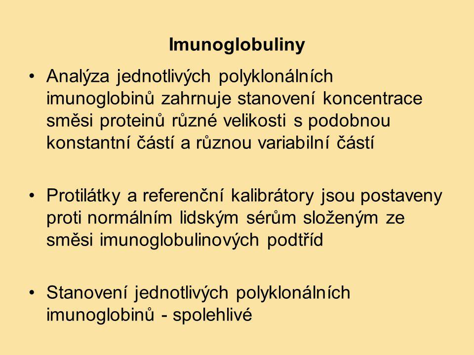 Imunoglobuliny Analýza jednotlivých polyklonálních imunoglobinů zahrnuje stanovení koncentrace směsi proteinů různé velikosti s podobnou konstantní čá