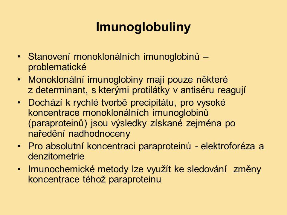 Imunoglobuliny Stanovení monoklonálních imunoglobinů – problematické Monoklonální imunoglobiny mají pouze některé z determinant, s kterými protilátky