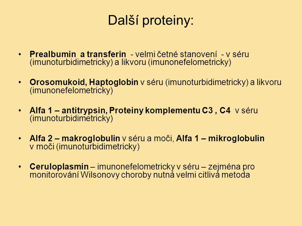Další proteiny: Prealbumin a transferin - velmi četné stanovení - v séru (imunoturbidimetricky) a likvoru (imunonefelometricky) Orosomukoid, Haptoglob