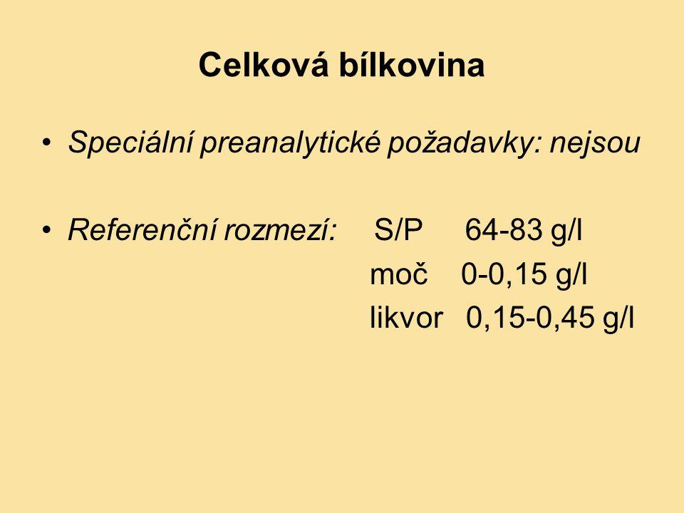 Celková bílkovina Speciální preanalytické požadavky: nejsou Referenční rozmezí: S/P 64-83 g/l moč 0-0,15 g/l likvor 0,15-0,45 g/l