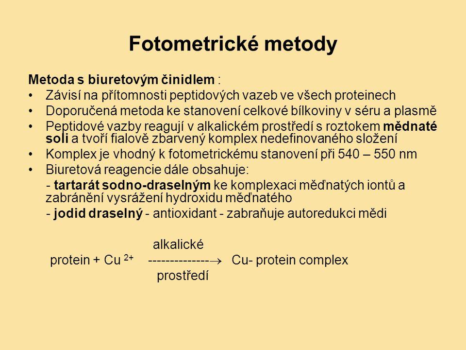 Fotometrické metody Metoda s biuretovým činidlem : Závisí na přítomnosti peptidových vazeb ve všech proteinech Doporučená metoda ke stanovení celkové