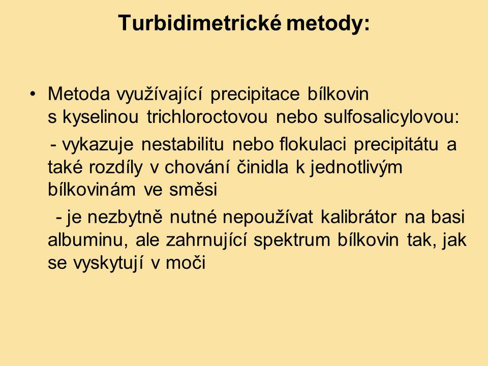Imunoglobuliny v séru (plasmě) a likvoru Imunoglobuliny v séru a likvoru dostatečnou citlivost mají pouze imunochemické metody Imunoglobuliny G, A a M v séru či plasmě - stanovují se imunoturbidimetricky (imunonefelometricky) v likvoru pouze imunonefelometrie (dostatečná citlivost) Imunoturbidimetrické i turbidimetrické metody jsou založeny na měření zákalu vytvořeného interakcí měřeného analytu se specifickou protilátkou Vznik precipitátu se projevuje vzrůstem zákalu reakční směsi U imunoturbidimetrických metod reakce často probíhá v přítomnosti PEG, který zvyšuje rychlost reakce, citlivost a výrazně omezuje možnost rozpouštění precipitátu v přítomnosti nadbytku antigenu Hlavní vlnová délka pro měření absorbance - 340 nm