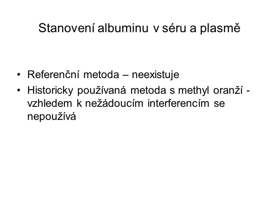 Stanovení albuminu v séru a plasmě Referenční metoda – neexistuje Historicky používaná metoda s methyl oranží - vzhledem k nežádoucím interferencím se nepoužívá