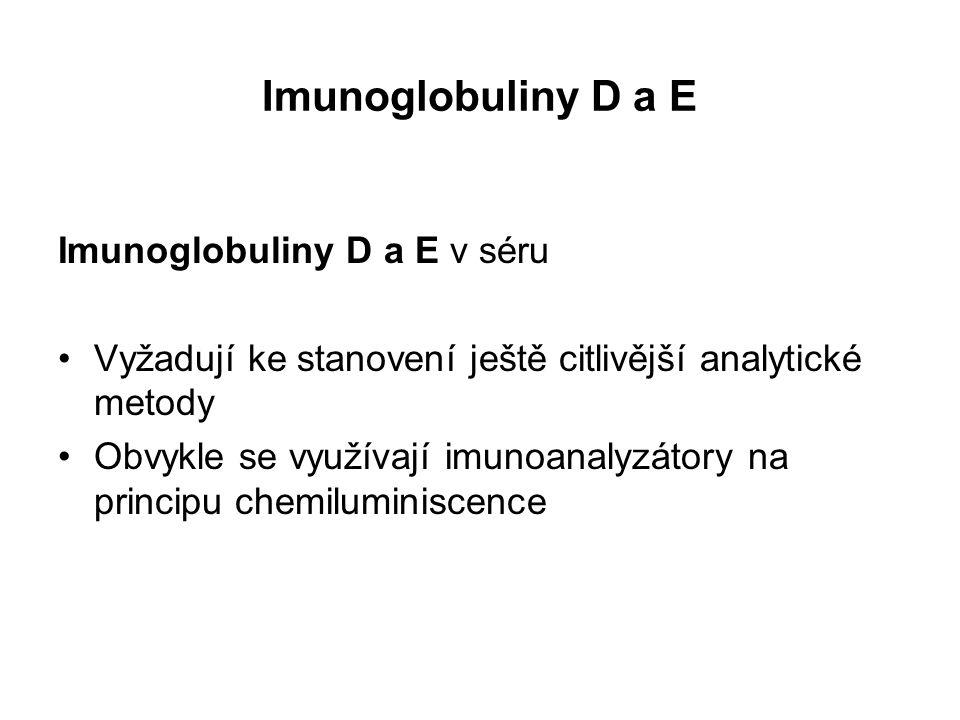 Imunoglobuliny D a E Imunoglobuliny D a E v séru Vyžadují ke stanovení ještě citlivější analytické metody Obvykle se využívají imunoanalyzátory na principu chemiluminiscence
