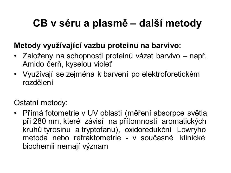 CB v séru a plasmě – další metody Metody využívající vazbu proteinu na barvivo: Založeny na schopnosti proteinů vázat barvivo – např.