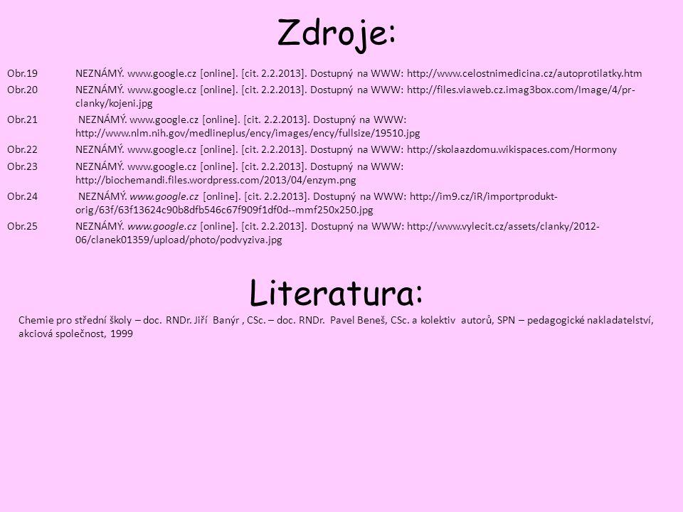 Zdroje: Obr.19NEZNÁMÝ. www.google.cz [online]. [cit. 2.2.2013]. Dostupný na WWW: http://www.celostnimedicina.cz/autoprotilatky.htm Obr.20NEZNÁMÝ. www.