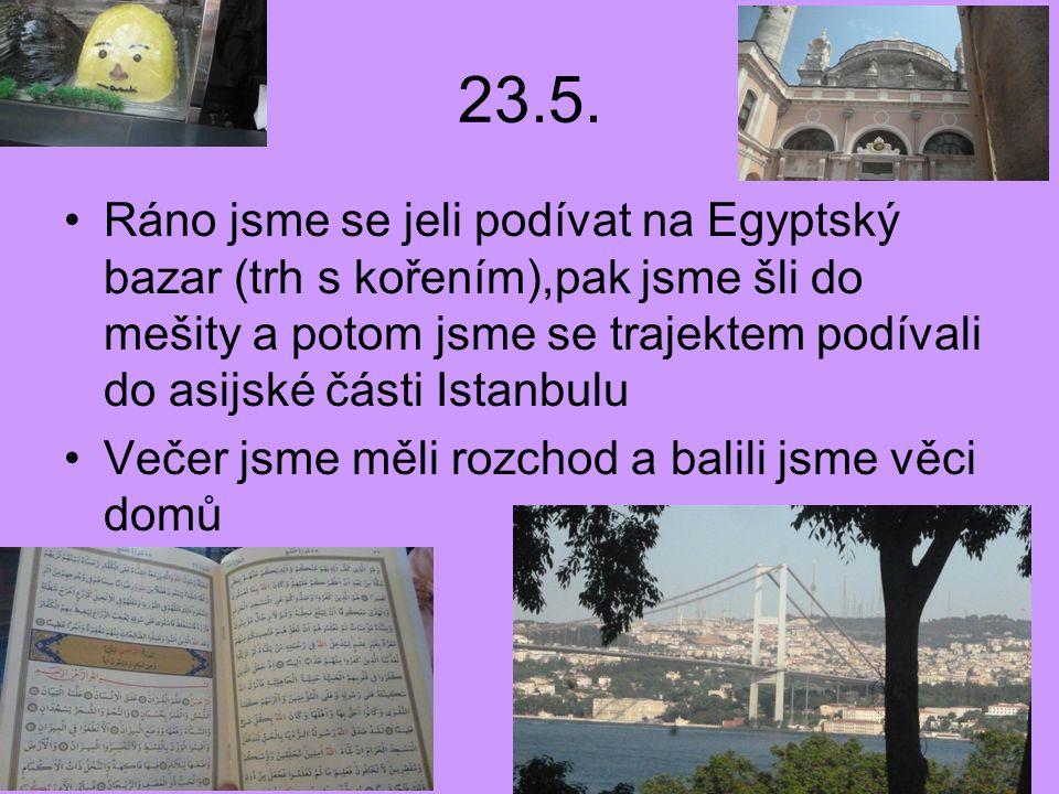 23.5. Ráno jsme se jeli podívat na Egyptský bazar (trh s kořením),pak jsme šli do mešity a potom jsme se trajektem podívali do asijské části Istanbulu