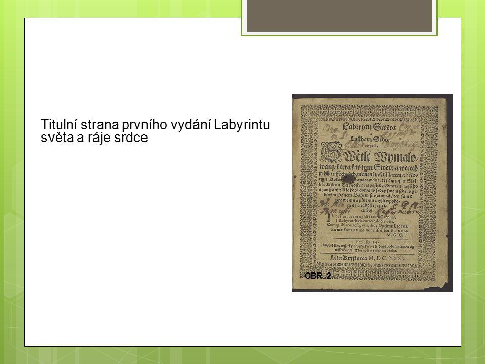 Titulní strana prvního vydání Labyrintu světa a ráje srdce OBR. 2
