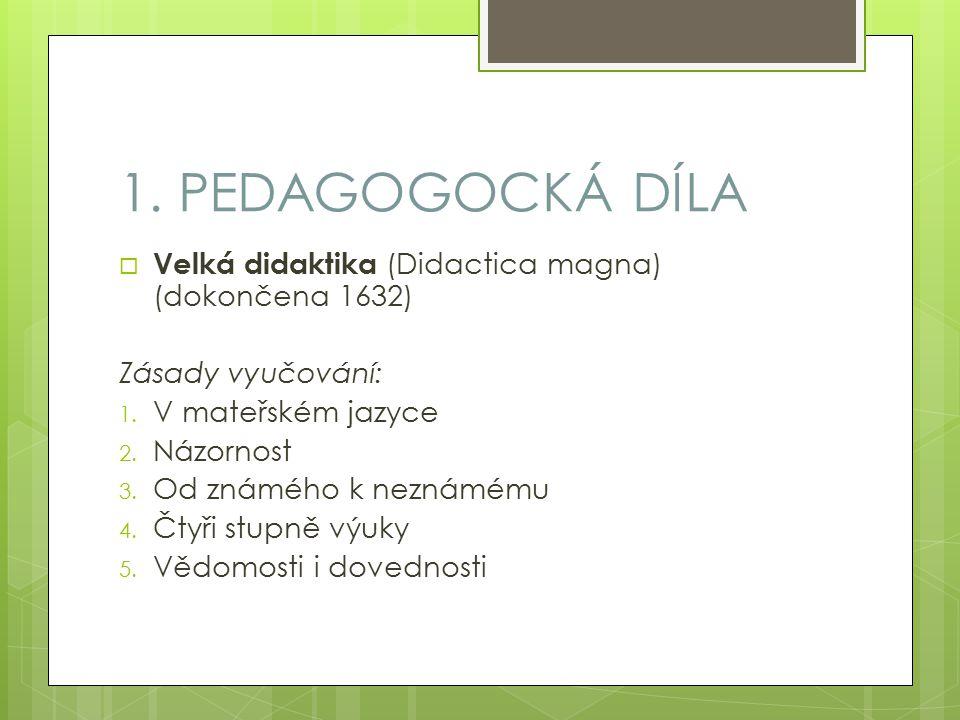 1. PEDAGOGOCKÁ DÍLA  Velká didaktika (Didactica magna) (dokončena 1632) Zásady vyučování: 1.