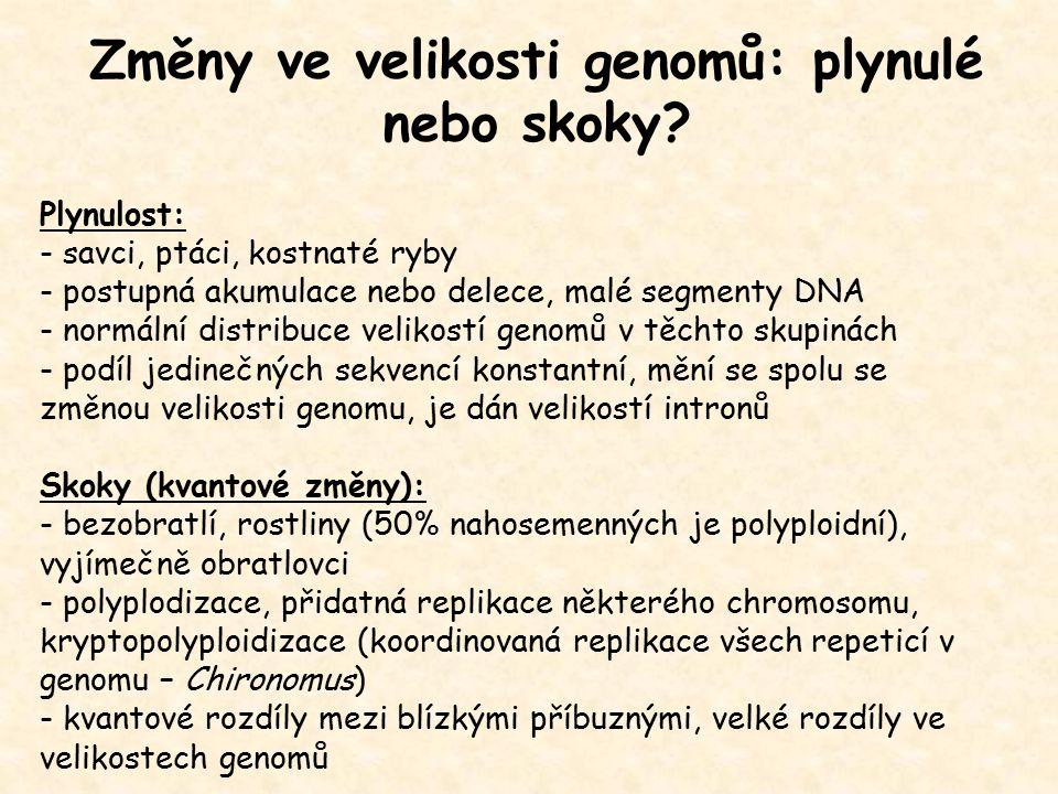 Změny ve velikosti genomů: plynulé nebo skoky? Plynulost: - savci, ptáci, kostnaté ryby - postupná akumulace nebo delece, malé segmenty DNA - normální