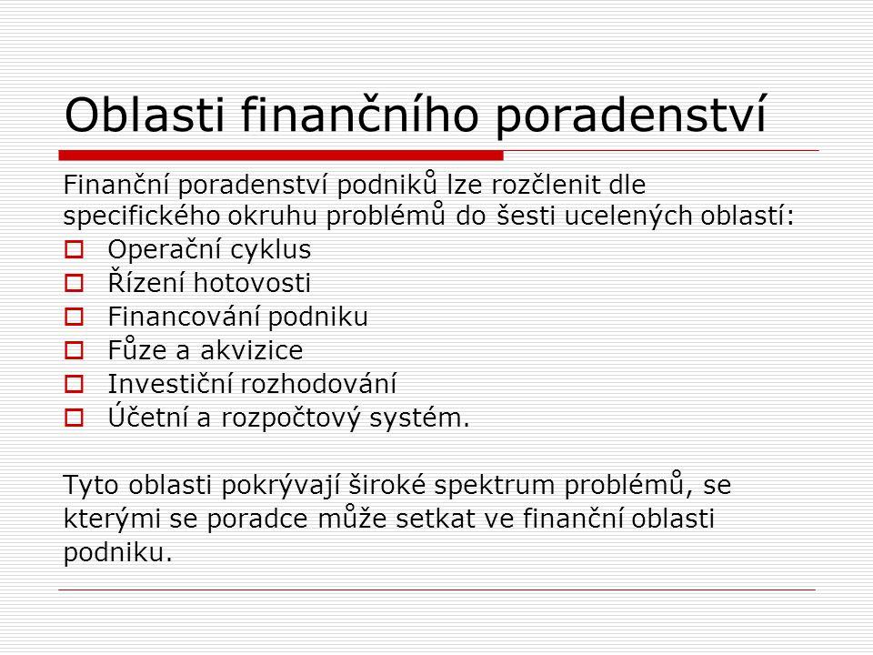 Oblasti finančního poradenství Finanční poradenství podniků lze rozčlenit dle specifického okruhu problémů do šesti ucelených oblastí:  Operační cykl