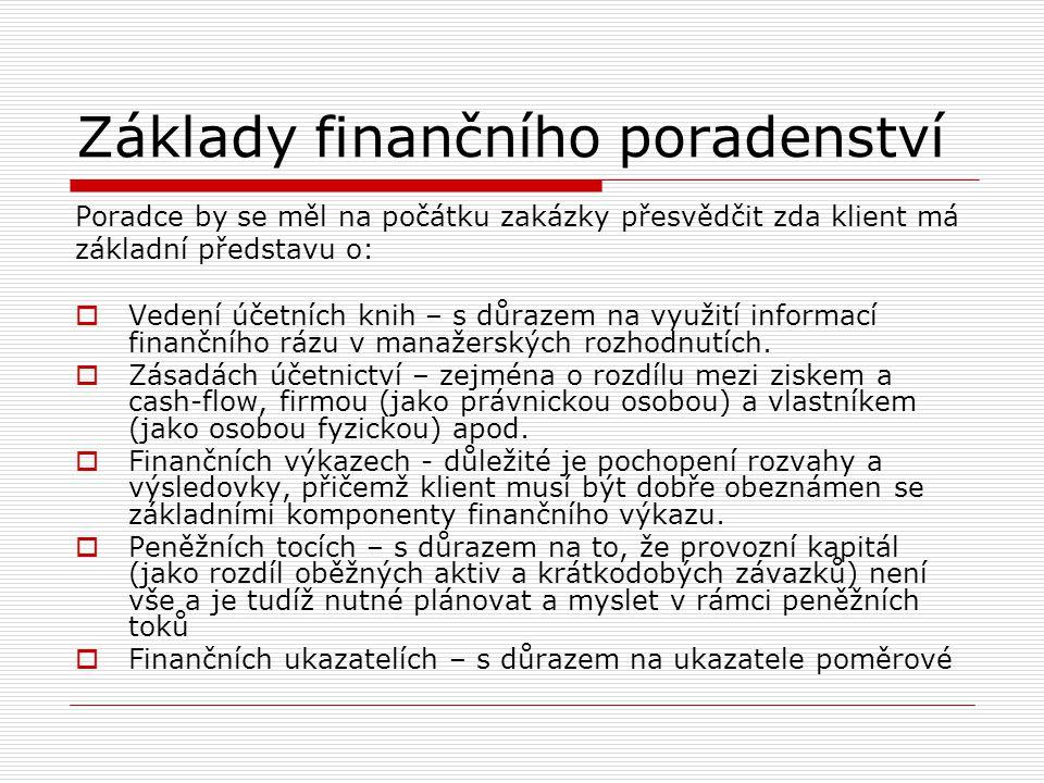 Základy finančního poradenství Poradce by se měl na počátku zakázky přesvědčit zda klient má základní představu o:  Vedení účetních knih – s důrazem