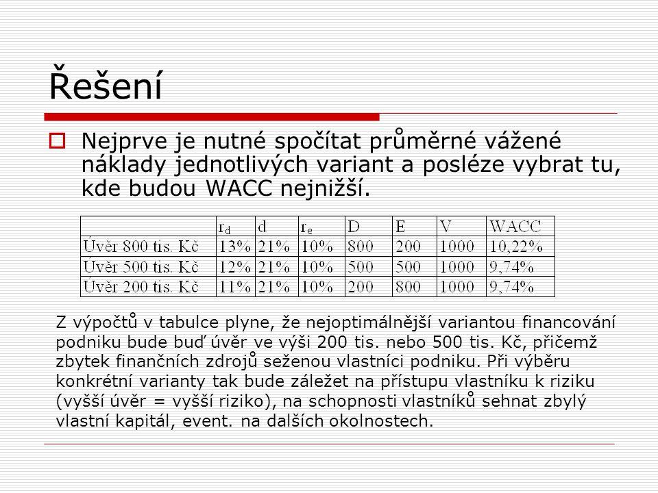 Řešení  Nejprve je nutné spočítat průměrné vážené náklady jednotlivých variant a posléze vybrat tu, kde budou WACC nejnižší. Z výpočtů v tabulce plyn