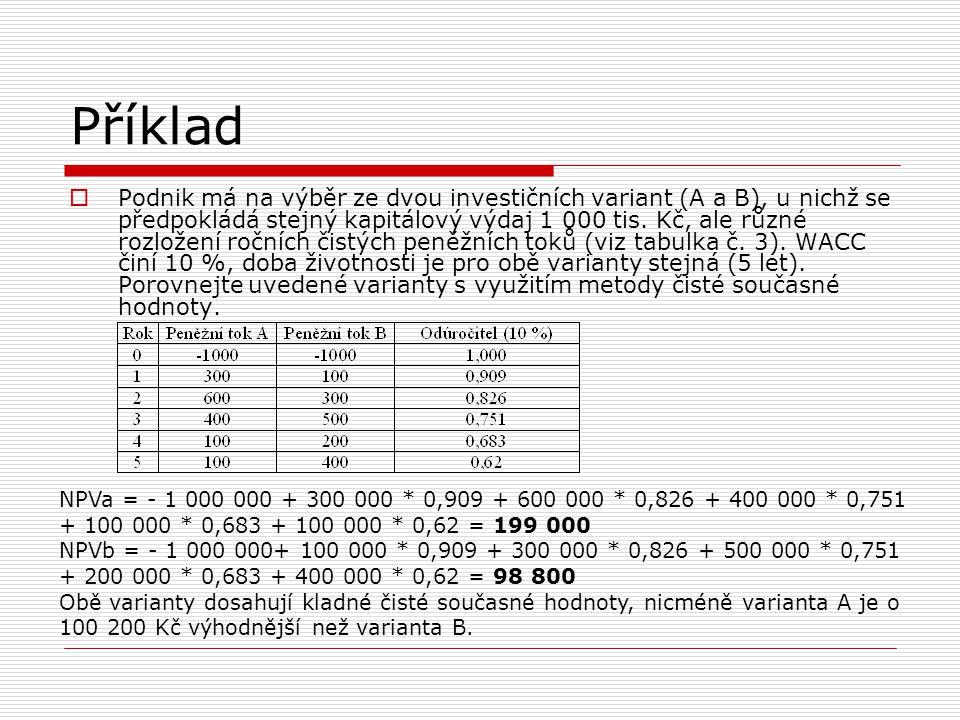 Příklad  Podnik má na výběr ze dvou investičních variant (A a B), u nichž se předpokládá stejný kapitálový výdaj 1 000 tis. Kč, ale různé rozložení r