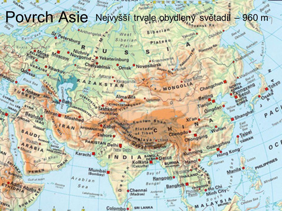 Povrch Asie Nejvyšší trvale obydlený světadíl – 960 m