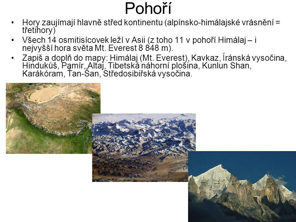 Pohoří Hory zaujímají hlavně střed kontinentu (alpínsko-himálajské vrásnění = třetihory) Všech 14 osmitisícovek leží v Asii (z toho 11 v pohoří Himála