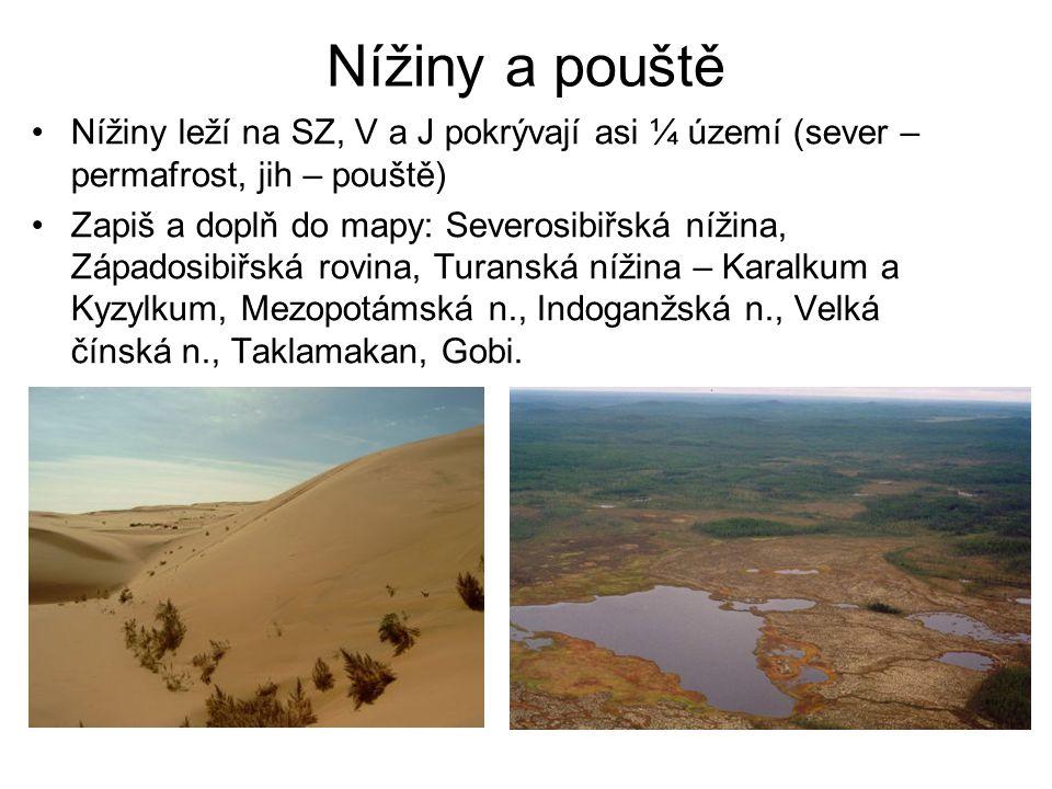 Nížiny a pouště Nížiny leží na SZ, V a J pokrývají asi ¼ území (sever – permafrost, jih – pouště) Zapiš a doplň do mapy: Severosibiřská nížina, Západo