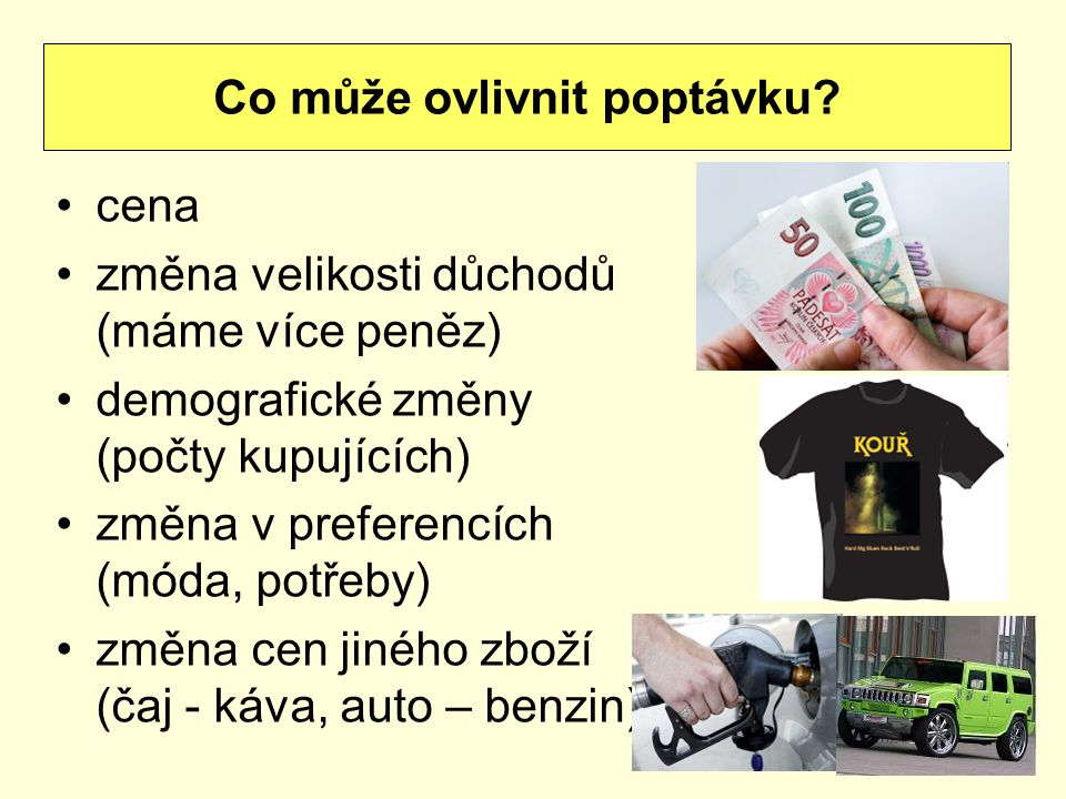 cena změna velikosti důchodů (máme více peněz) demografické změny (počty kupujících) změna v preferencích (móda, potřeby) změna cen jiného zboží (čaj