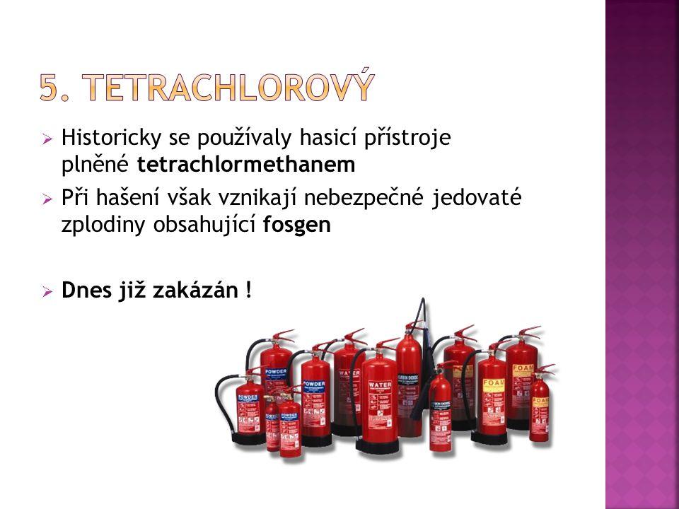  Historicky se používaly hasicí přístroje plněné tetrachlormethanem  Při hašení však vznikají nebezpečné jedovaté zplodiny obsahující fosgen  Dnes