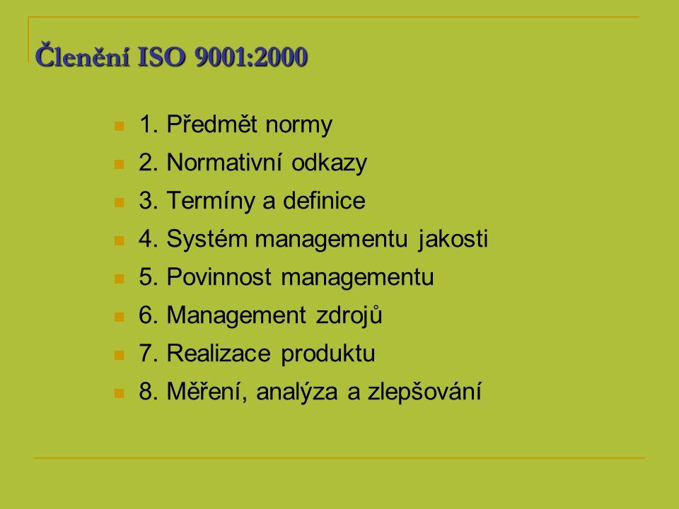 Členění ISO 9001:2000 1. Předmět normy 2. Normativní odkazy 3. Termíny a definice 4. Systém managementu jakosti 5. Povinnost managementu 6. Management