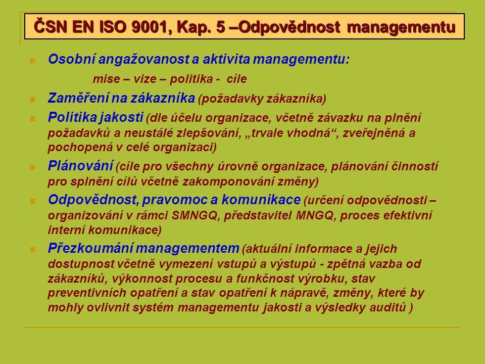 Osobní angažovanost a aktivita managementu: mise – vize – politika - cíle Zaměření na zákazníka (požadavky zákazníka) Politika jakosti (dle účelu orga