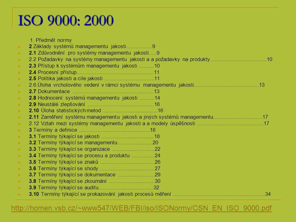 Členění ISO 9004: 2000 1 Předmět normy....................................................11 2 Normativní odkazy...............................................11 3 Termíny a definice...............................................11 4 Systém managementu jakosti..............................12 4.1 Řízení systémů a procesů...................................12 4.2 Dokumentace......................................................13 4.3 Použití zásad managementu jakosti....................16 5 Odpovědnost managementu...............................17 5.1 Všeobecný návod................................................17 5.2 Potřeby a očekávání zainteresovaných stran......20 5.3 Politika jakosti......................................................23 5.4 Plánování.............................................................24 5.5 Odpovědnost, pravomoc a komunikace...............26 5.6 Přezkoumání systému managementu.................28 6 Management zdrojů.............................................31 6.1 Všeobecný návod................................................31 6.2 Zaměstnanci........................................................32 6.3 Infrastruktura.......................................................35 6.4 Pracovní prostředí...............................................36 6.5 Informace.............................................................37 6.6 Dodavatelé a partnerství......................................37 6.7 Přírodní zdroje.....................................................38 6.8 Finanční zdroje....................................................38 7 Realizace produktu..............................................39 7.1 Všeobecný návod................................................39 7.2 Procesy týkající se zainteresovaných stran.........44 7.3 Návrh a vývoj.......................................................46 7.4 Nakupování.........................................................52 7.5 Činnosti při výrobě a poskytování služeb.............55 