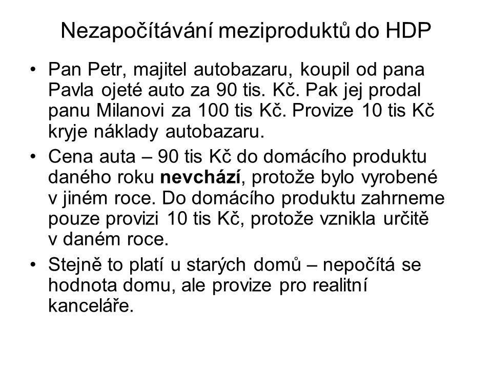 Nezapočítávání meziproduktů do HDP Pan Petr, majitel autobazaru, koupil od pana Pavla ojeté auto za 90 tis. Kč. Pak jej prodal panu Milanovi za 100 ti