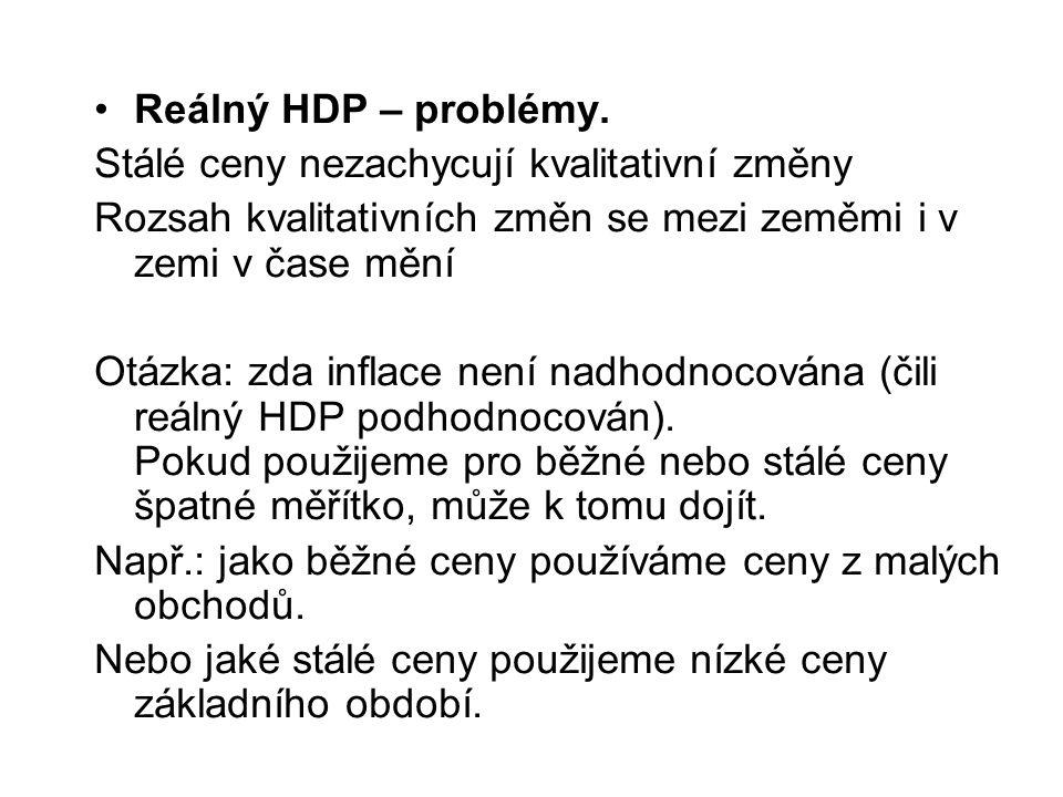 Reálný HDP – problémy.