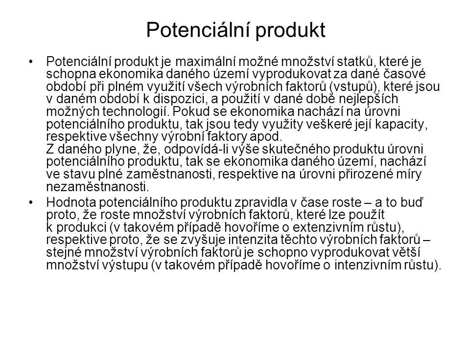 Potenciální produkt Potenciální produkt je maximální možné množství statků, které je schopna ekonomika daného území vyprodukovat za dané časové období při plném využití všech výrobních faktorů (vstupů), které jsou v daném období k dispozici, a použití v dané době nejlepších možných technologií.